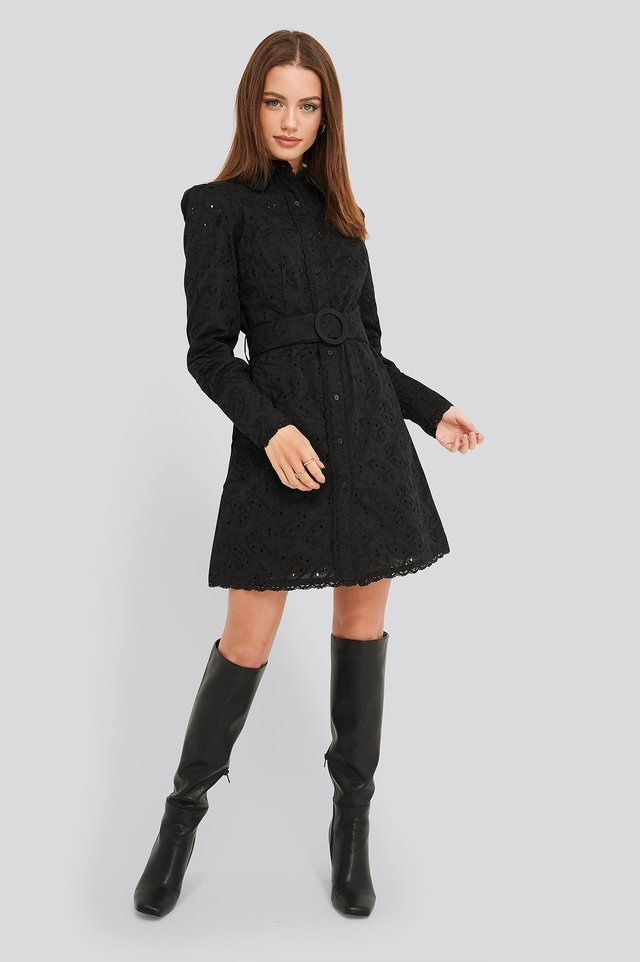 Anglaise Collar Mini Dress Outfit.