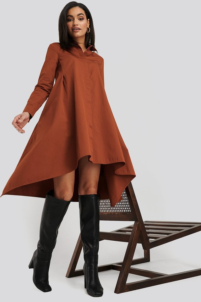 Asymmetrical Shirt Dress Outfit.