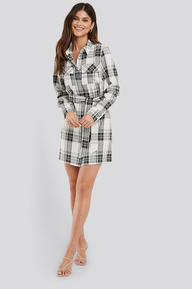 Plaid Belted Shirt Dress Outfit.