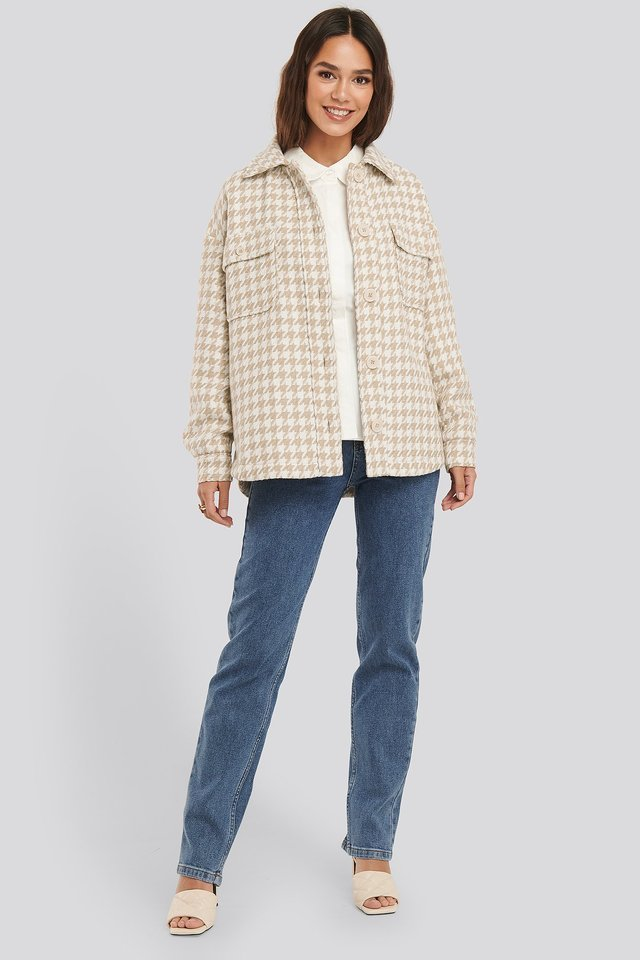 Woll Blend Dogtooth Jacket Beige.