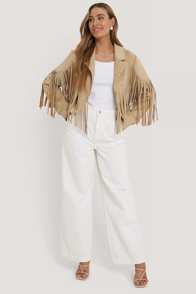 Fringed Fake Suede Jacket Beige.