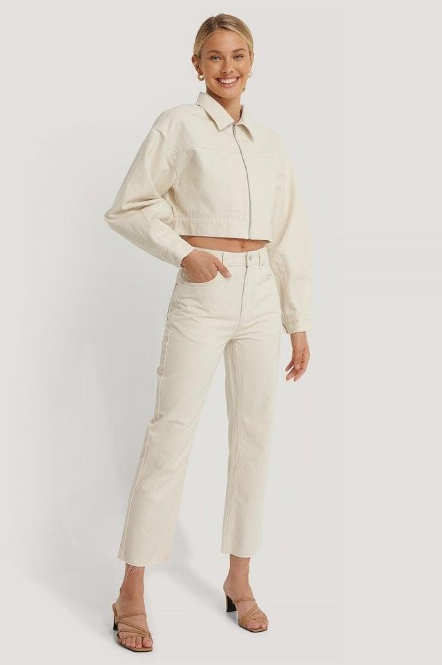 Organic Cropped Zipped Denim Jacket Offwhite.