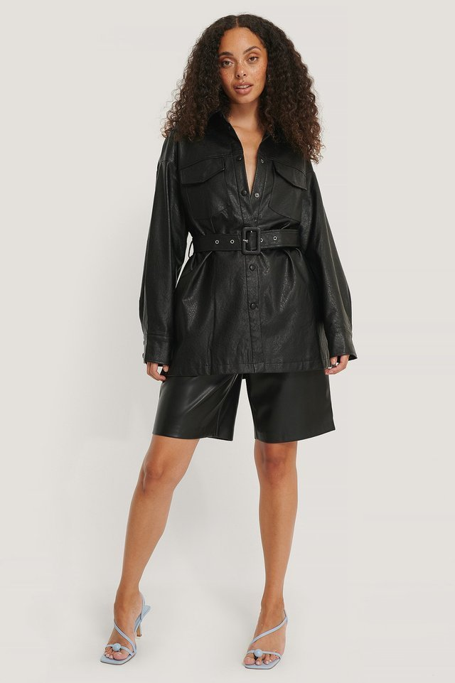 Buckle Belt Chest Pocket PU Jacket Black.