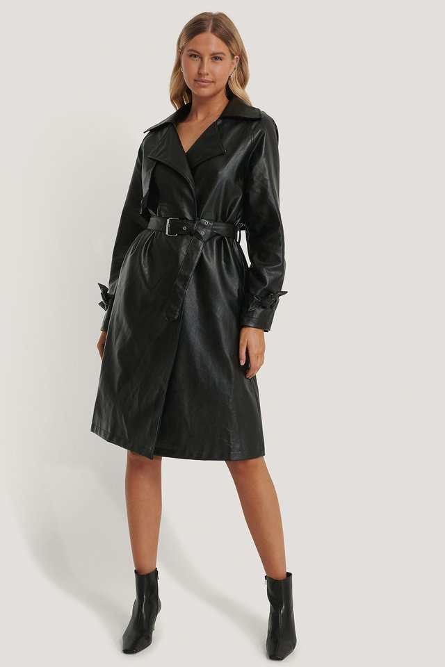 PU Trench Coat Black.