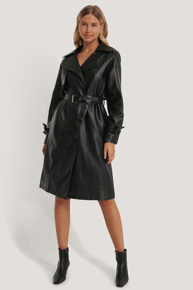 PU Trench Coat Black.