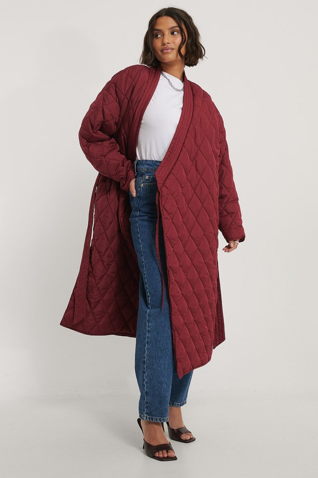 Quilted Kimono Coat Red.
