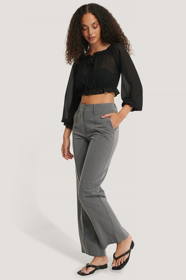 Long Sleeve Cropped Frill Top Outfit.