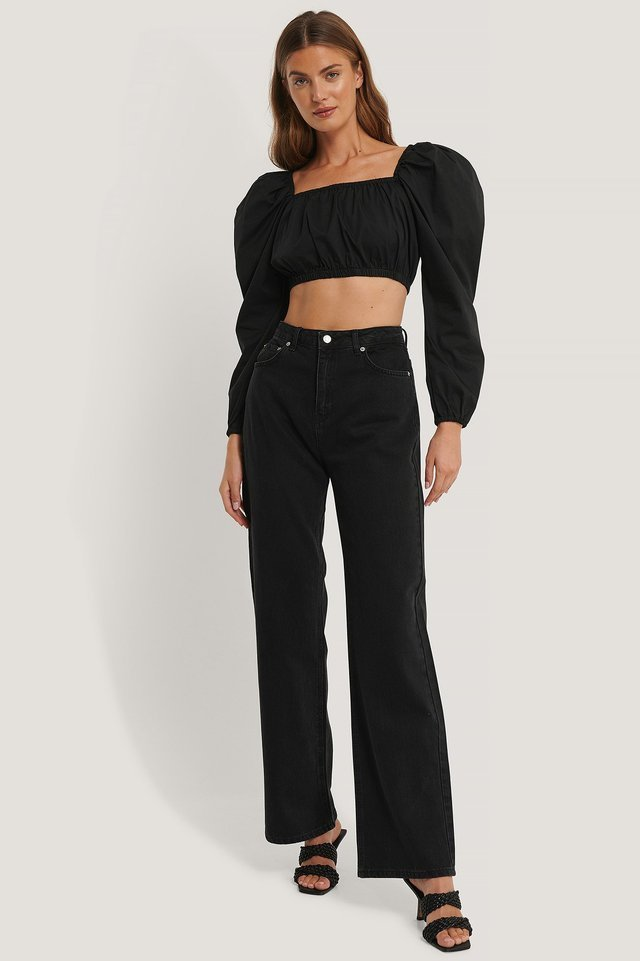 Puff Sleeve Square Neck Top Outfit.