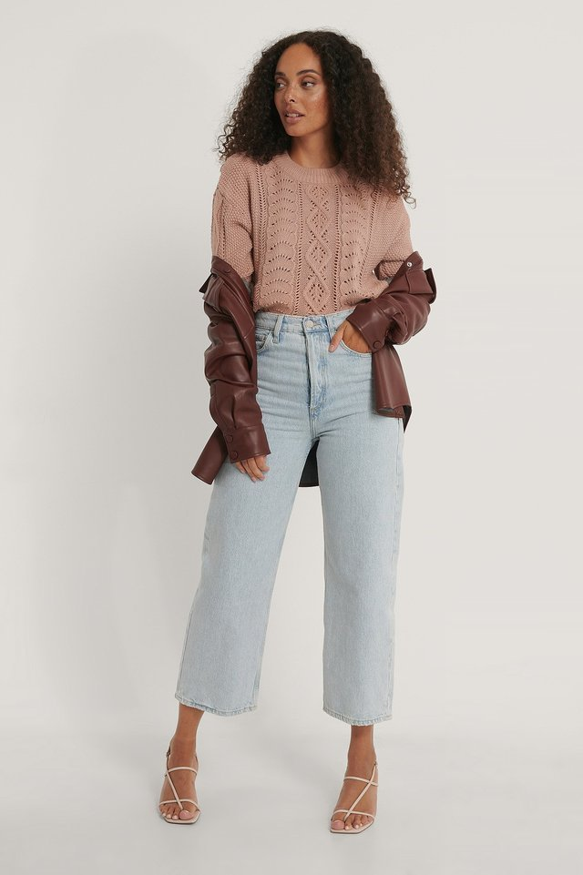 Cable Knitted Cropped Sweater Outfit.