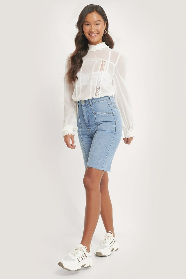 Shirred Frill Detail Blouse Outfit.