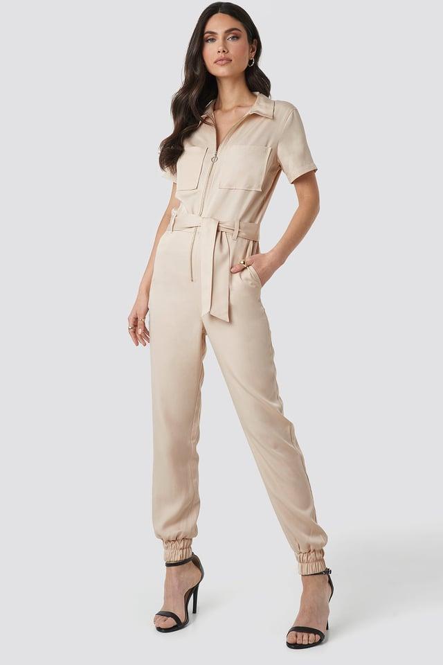 Tencel Cargo Jumpsuit Outfit.