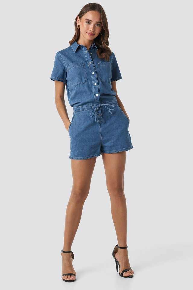 Utility Denim Playsuit Outfit.