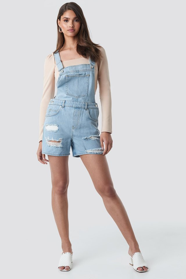 Distressed Denim Short Dungarees Outfit.