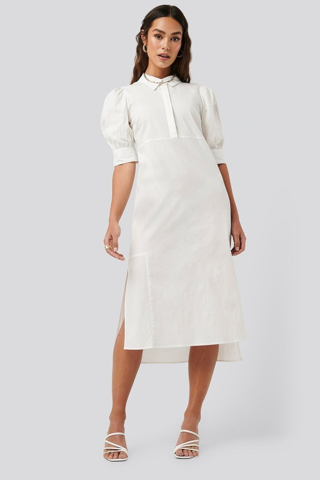 Puff Sleeve Panel Dress Outfit.
