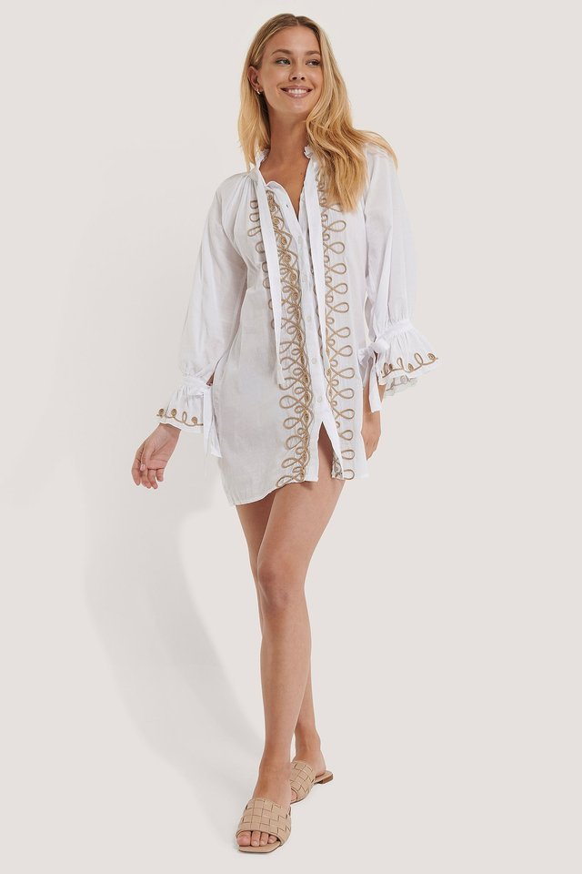 Embroidered Voile Beach Dress Outfit.