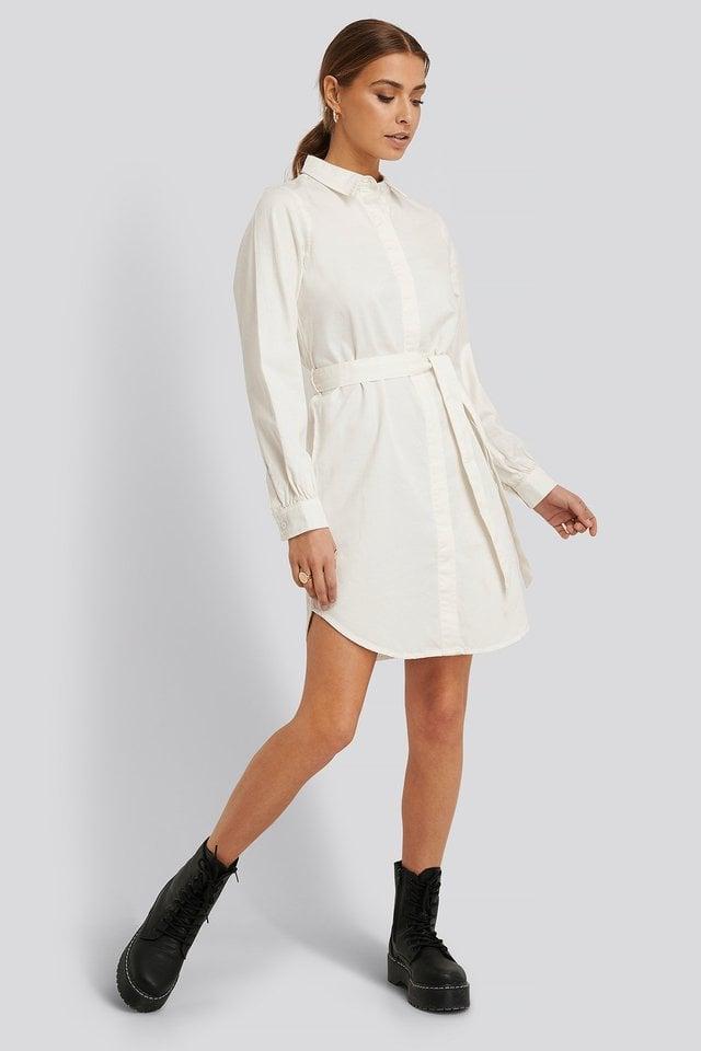 Denim Shirt Belted Dress Outfit.