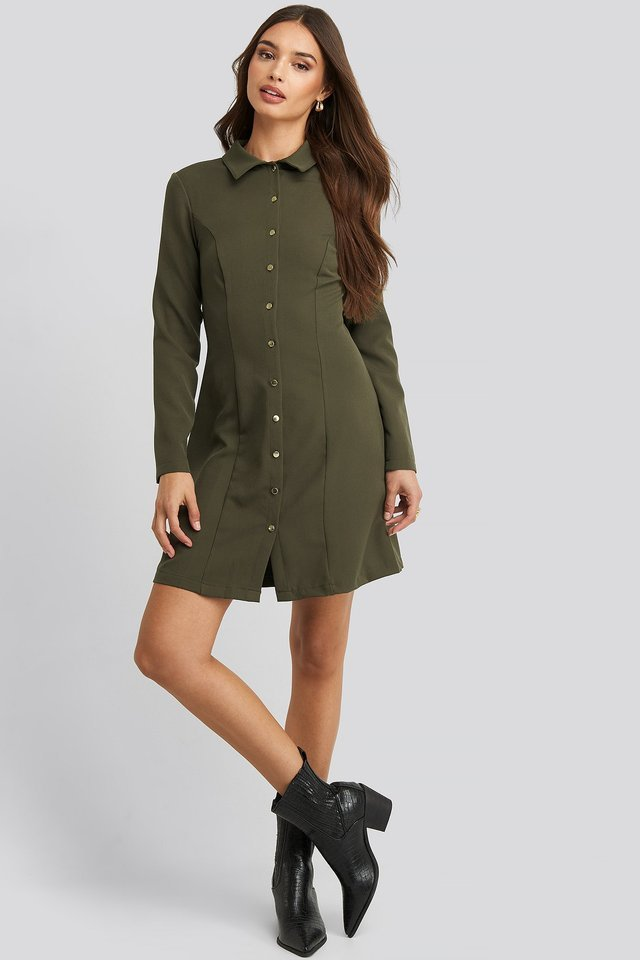 Midi Buttoned Shirt Dress Outfit.
