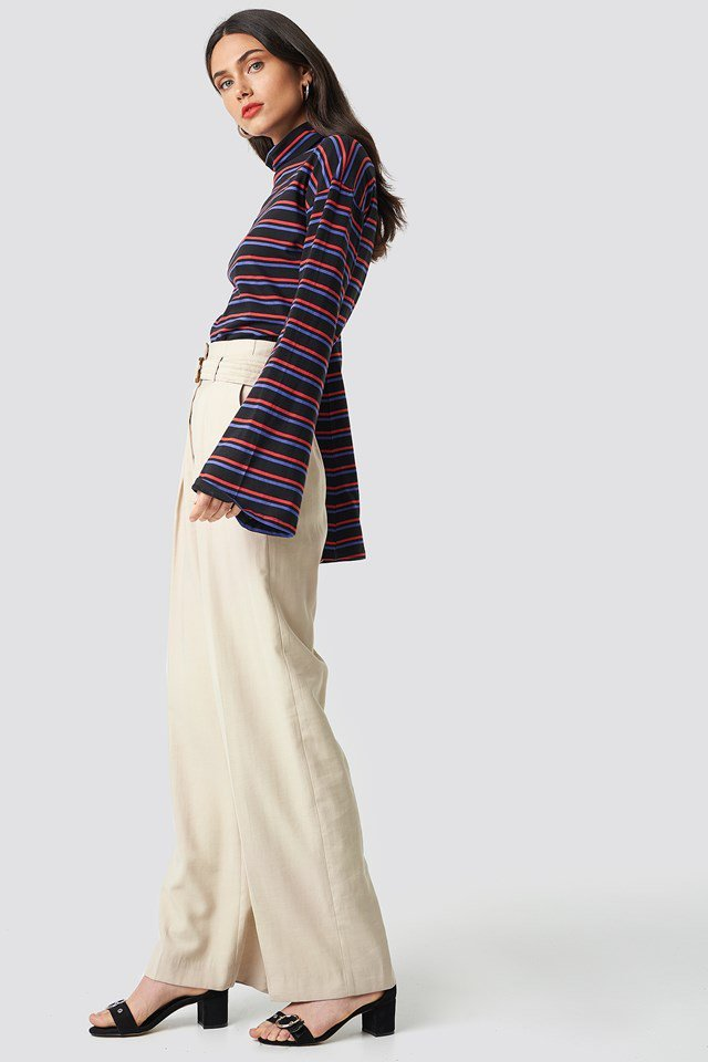 Navy Turtle Neck Striped Top