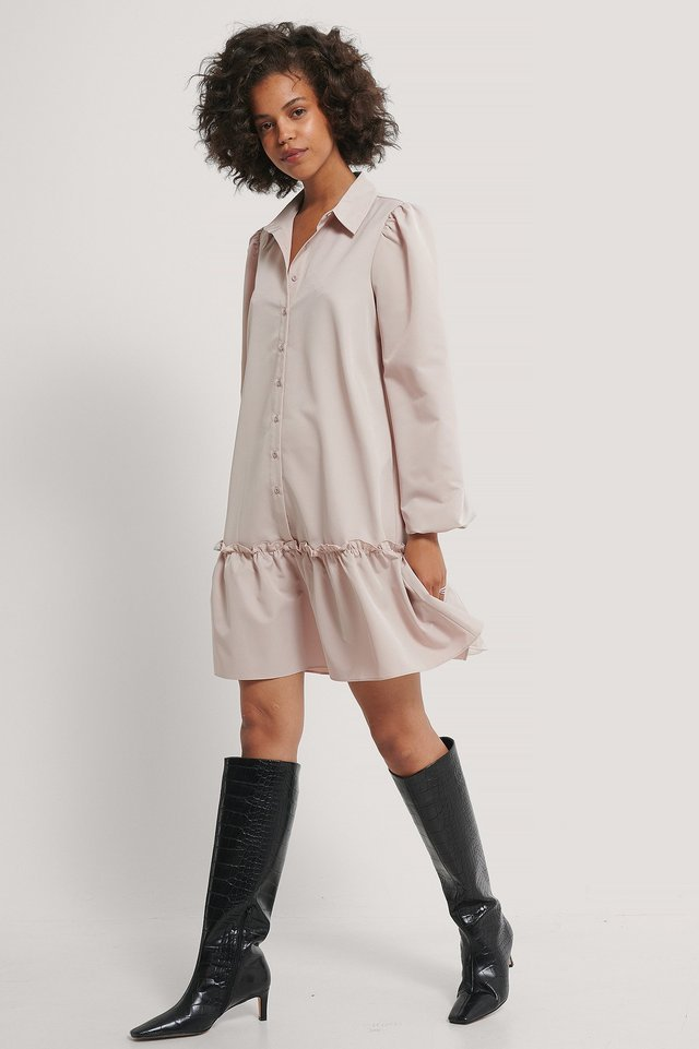 Ruffle Hem Shirt Dress Outfit.