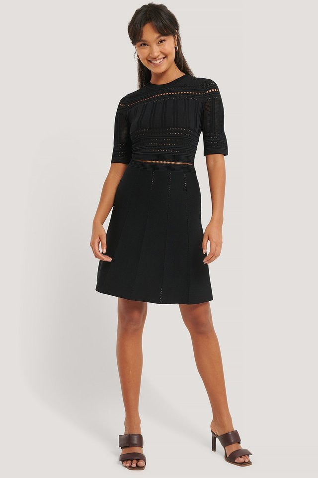 Short Sleeve Knitted Midi Dress Outfit.