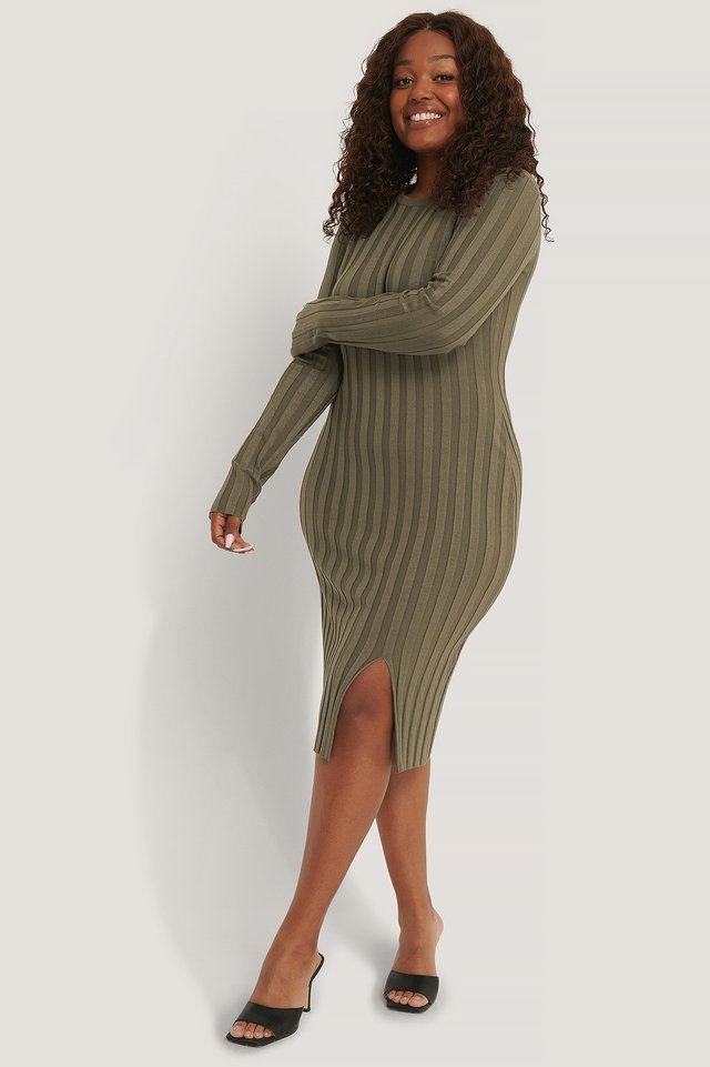 Ribbed Knitted Slit Dress Outfit.