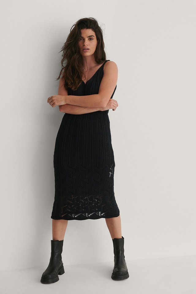 Knit Detailed Midi Dress Outfit.