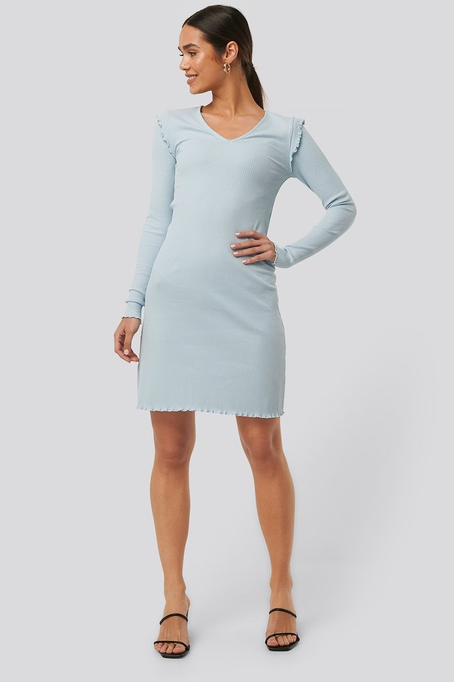 Ribbed V Neck Shoulder Detail Dress Outfit.