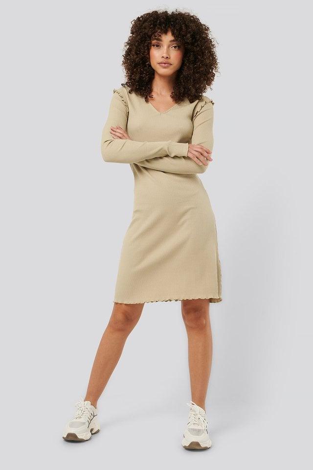 Ribbed V Neck Shoulder Detail Dress Outfit.