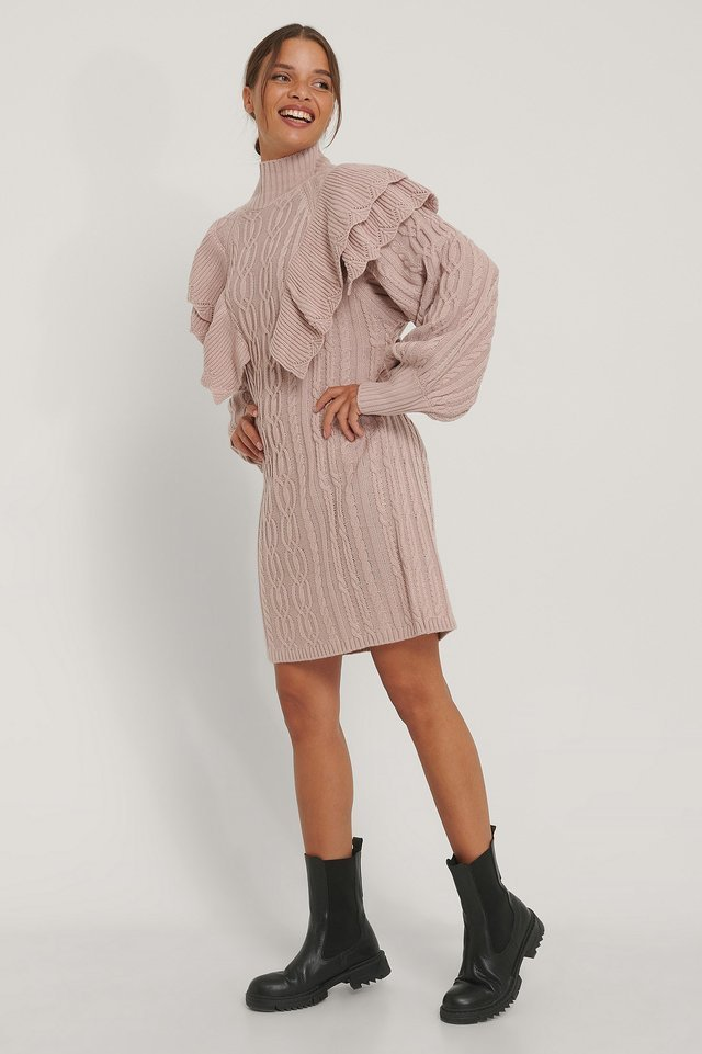 Volume Flounce Knitted Dress Outfit.