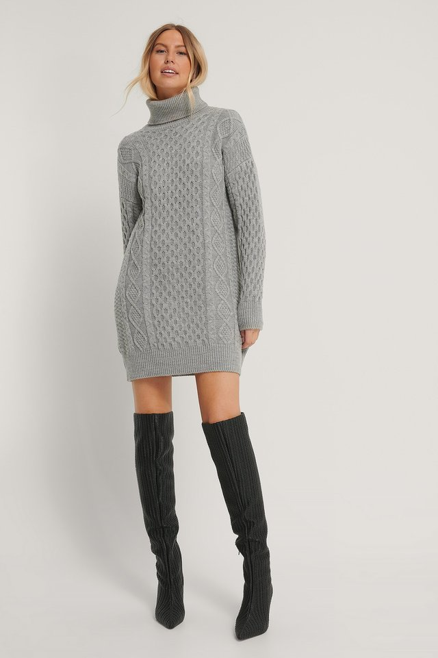 High Neck Knit Dress Outfit.