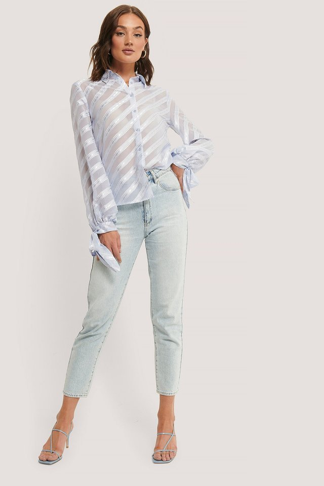 Tied Sleeve Striped Blouse Outfit.