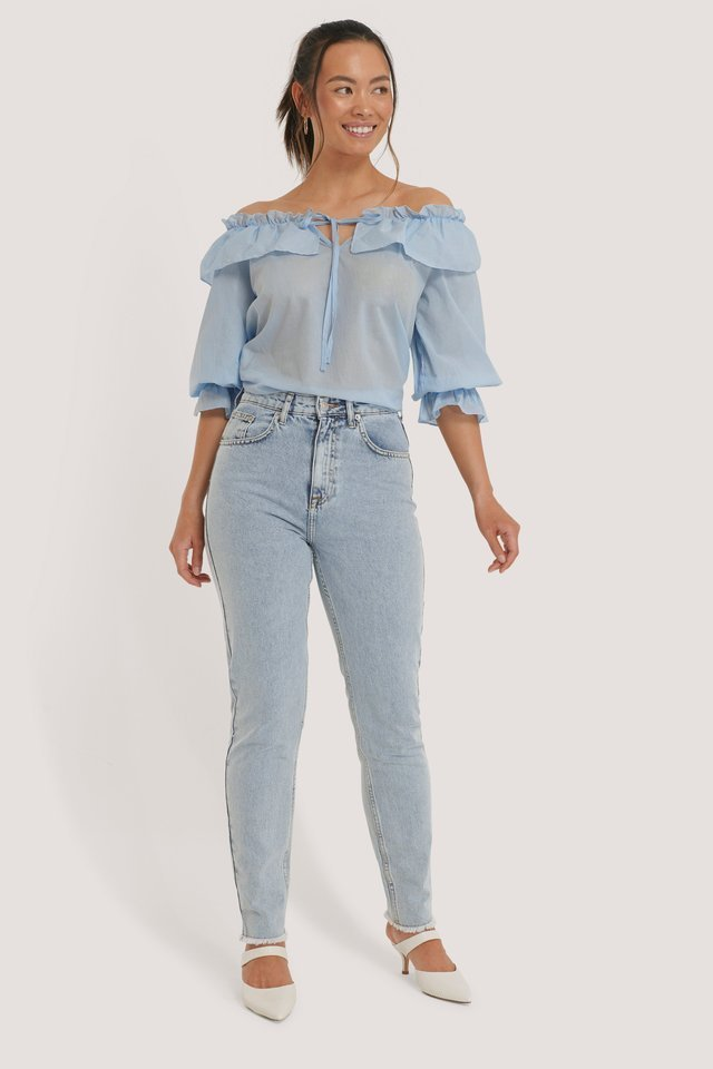 Blue Off Shoulder-Blus