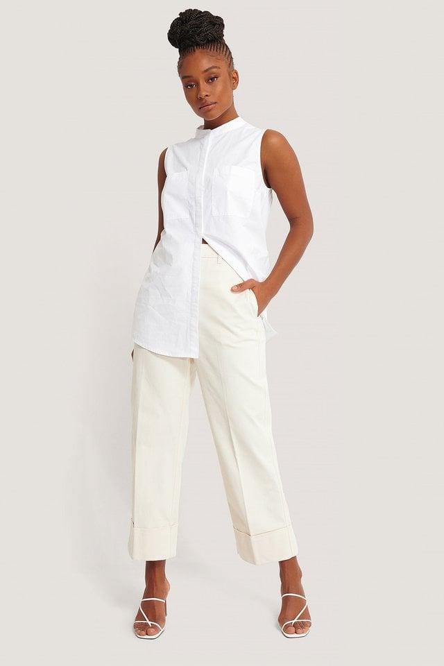 Sleeveless Pocket Shirt Outfit.