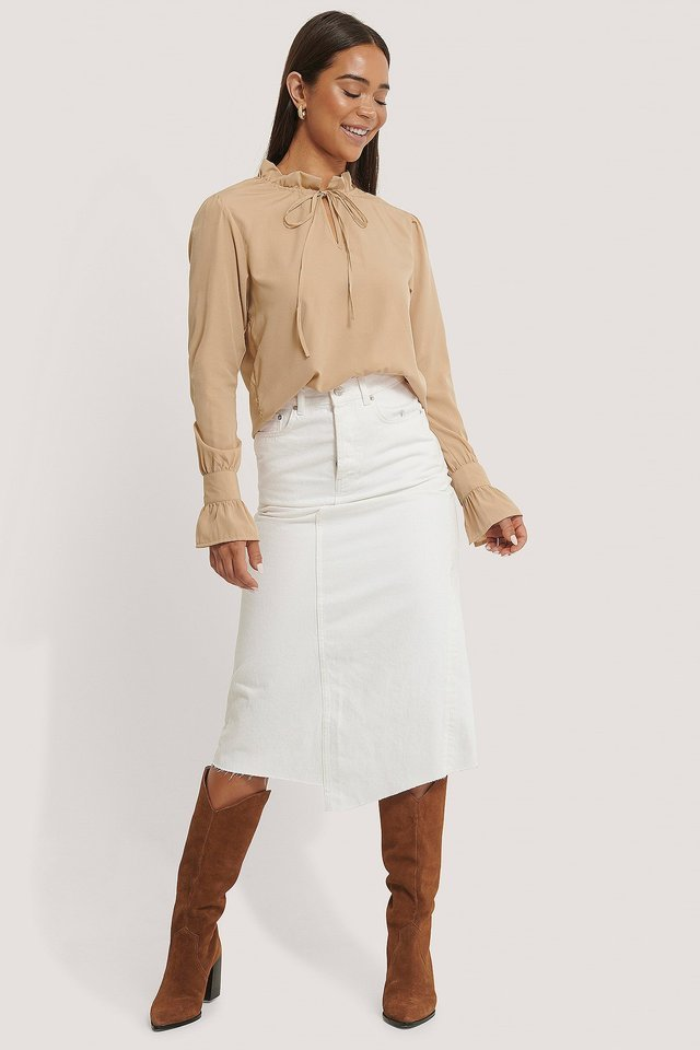High Neck Frill Blouse Outfit.
