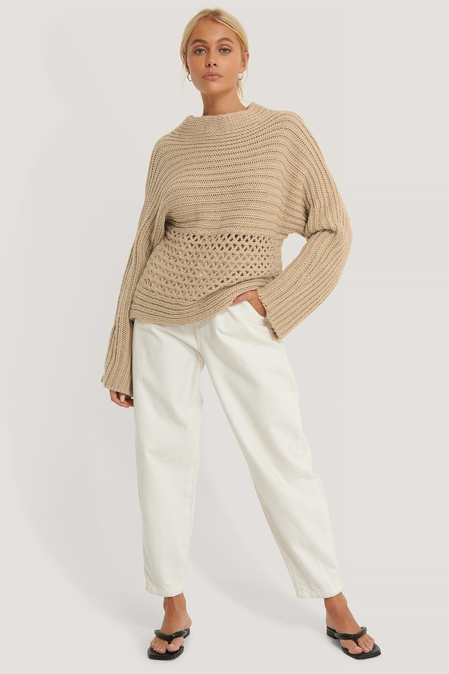 Hole Detail Knitted Sweater Outfit.