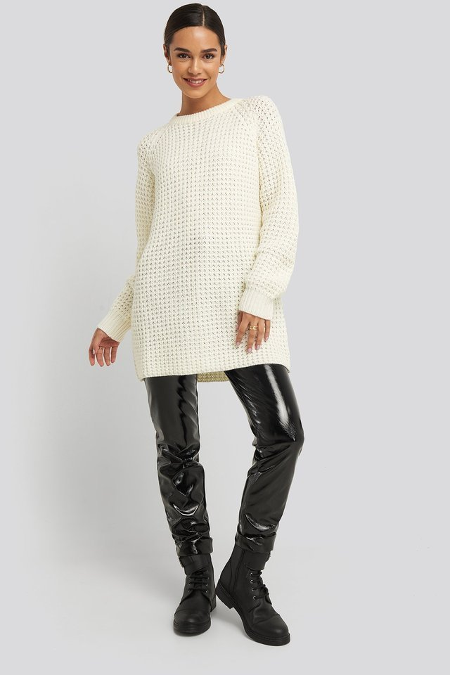 Round Neck Pineapple Knitted Sweater Outfit.