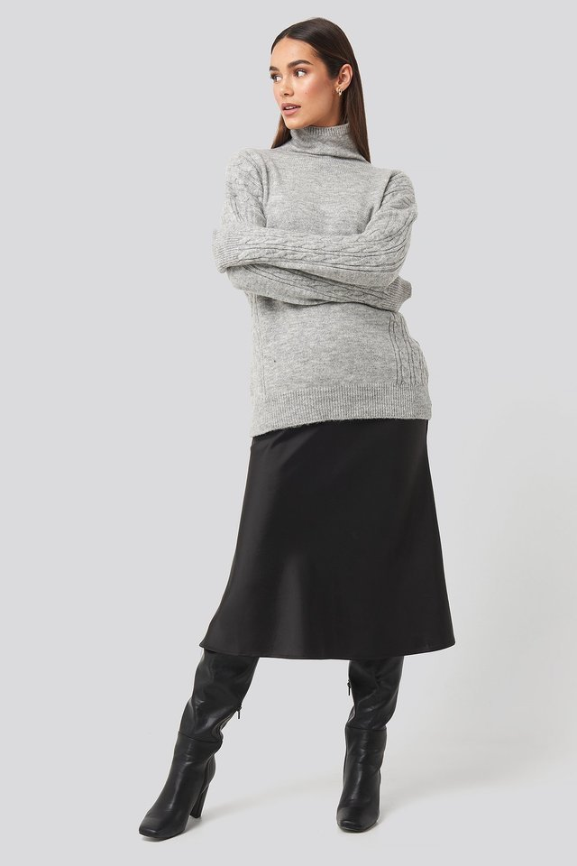 Turtleneck Sleeve Detailed Knitted Sweater Outfit.
