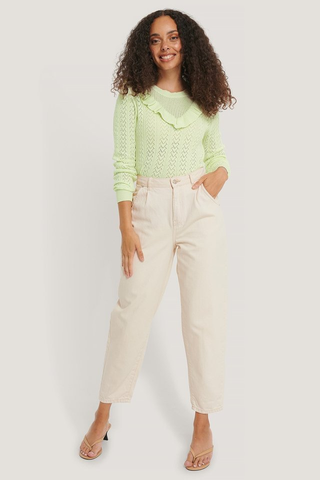 Organic Frill Detail Light Knitted Sweater Outfit.