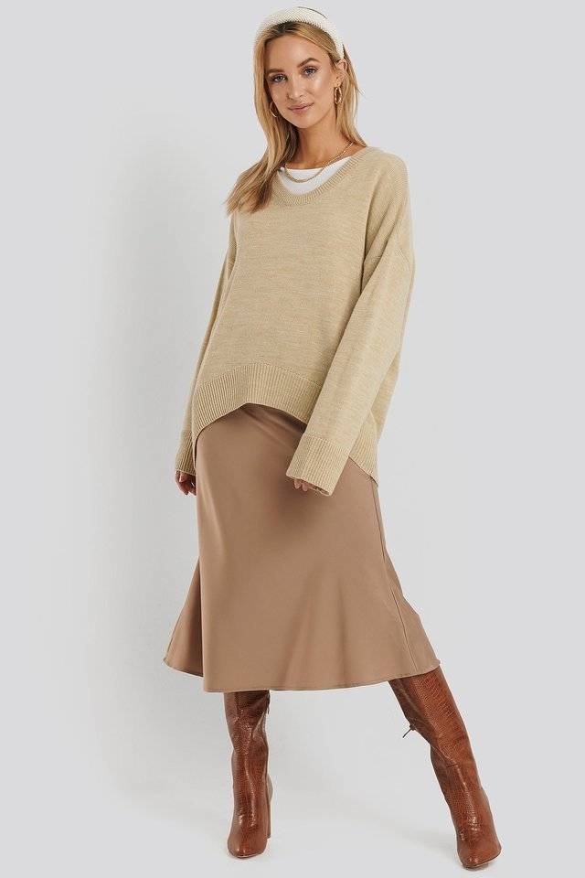 Wool Blend Oversized Wide Neck Sweater Outfit.