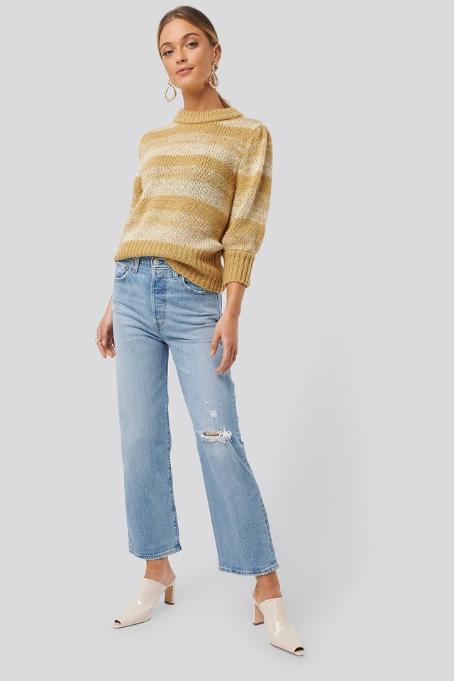 Melange Knitted Puff Sleeve Sweater Outfit.