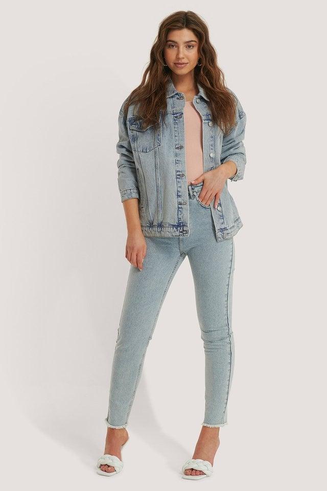 Denim Oversized Jacket Blue.