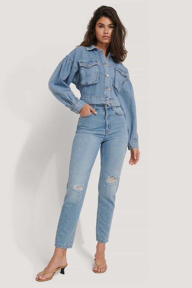 Balloon Sleeve Cropped Denim Jacket Blue.