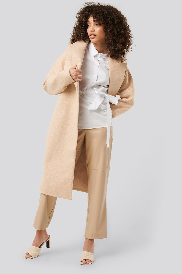 Dropped Shoulder Coat Beige.