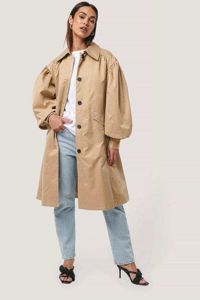 Balloon Sleeve Trench Coat Beige.