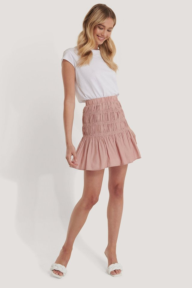 Shirred Mini Skirt Outfit.