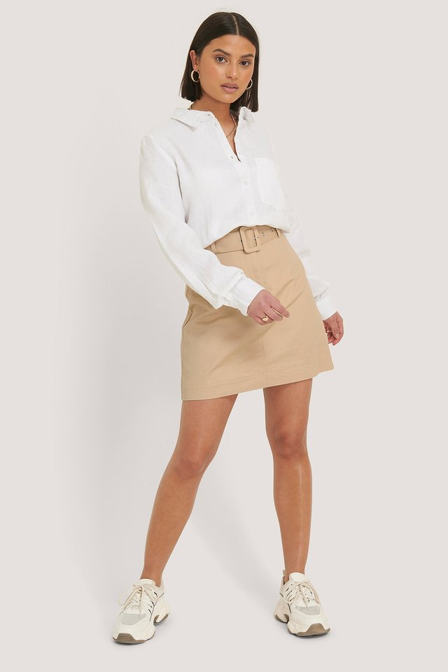 Cargo Belted Cotton Skirt Outfit.