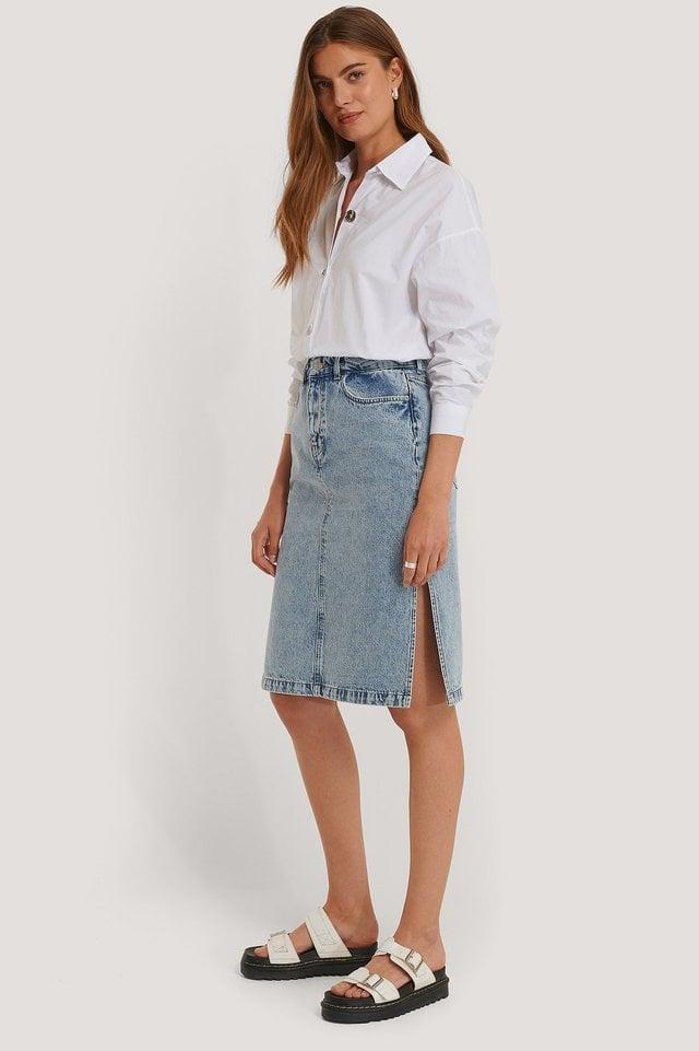 Side Slit Denim Skirt Outfit.