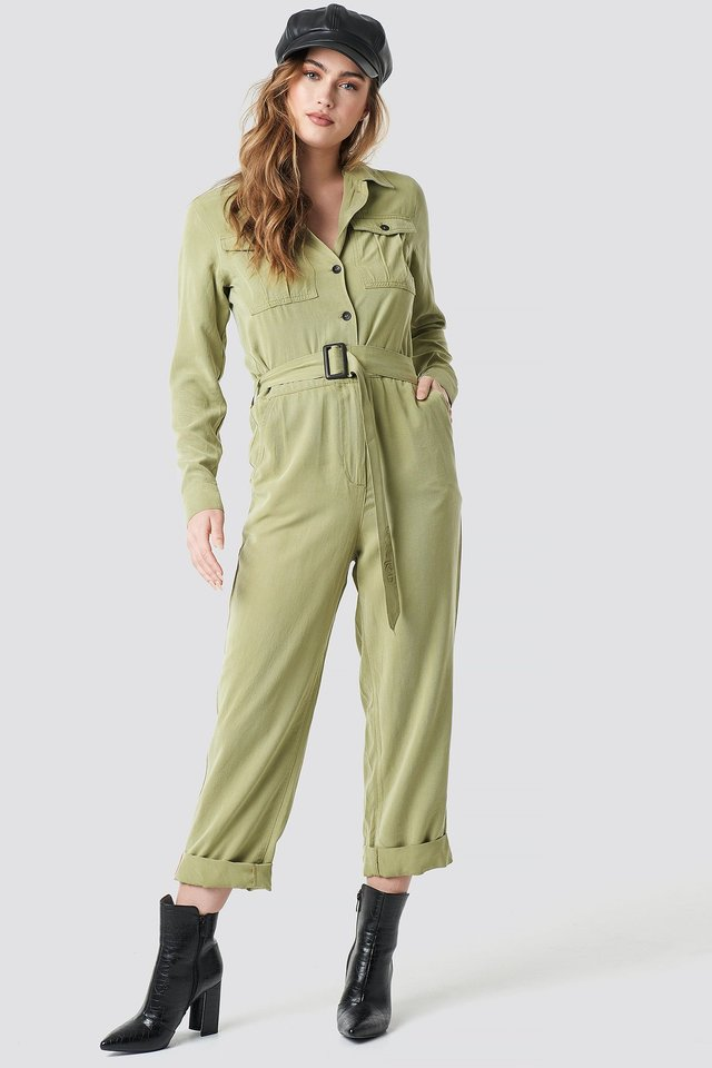 Belted Cargo Jumpsuit Outfit.