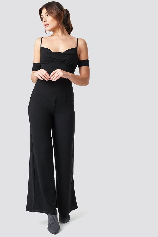 Cowl Neck Jumpsuit Outfit.
