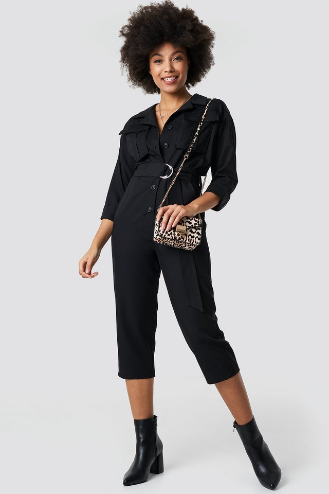 Front Pockets Belted Jumpsuit Outfit.